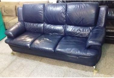深蓝色欧式皮沙发图片